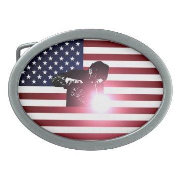 Welder & American Flag Belt Buckle