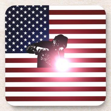 Welder & American Flag Beverage Coaster
