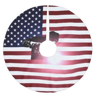 Welder & American Flag Brushed Polyester Tree Skirt