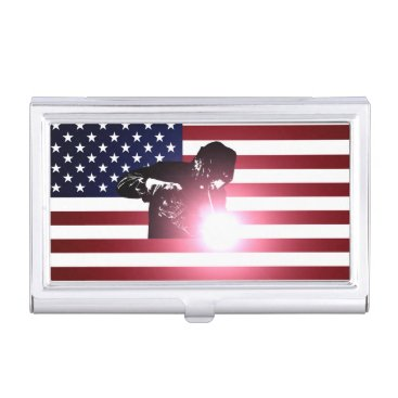 Welder & American Flag Business Card Case