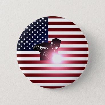 Welder & American Flag Button