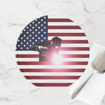 Welder & American Flag Cake Stand