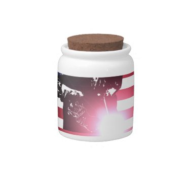 Welder & American Flag Candy Jar