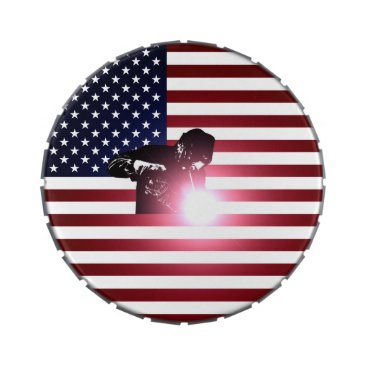Welder & American Flag Candy Tin