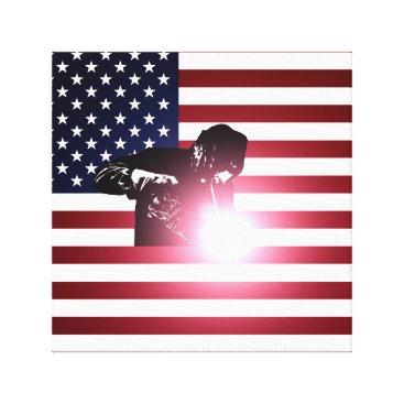 Welder & American Flag Canvas Print