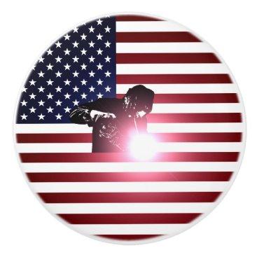 Welder & American Flag Ceramic Knob