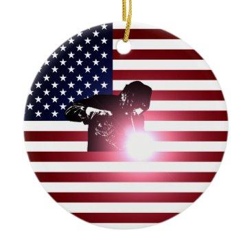 Welder & American Flag Ceramic Ornament