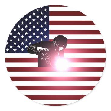 Welder & American Flag Classic Round Sticker
