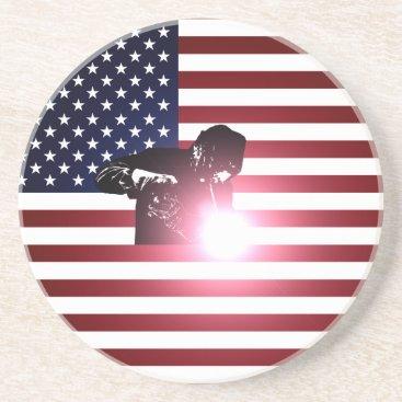 Welder & American Flag Coaster