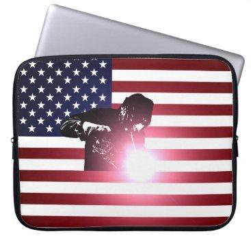 Welder & American Flag Computer Sleeve
