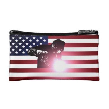 Welder & American Flag Cosmetic Bag