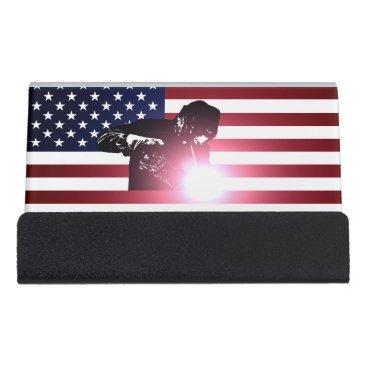 Welder & American Flag Desk Business Card Holder