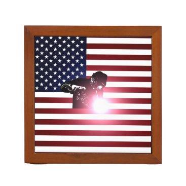 Welder & American Flag Desk Organizer