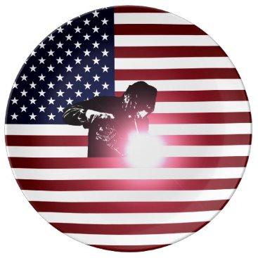 Welder & American Flag Dinner Plate
