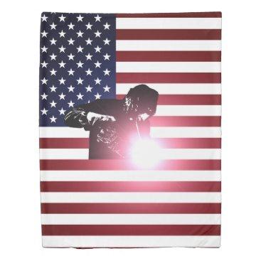 Welder & American Flag Duvet Cover