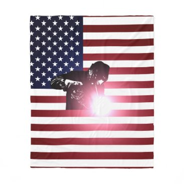 Welder & American Flag Fleece Blanket