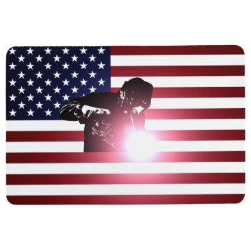 Welder & American Flag Floor Mat