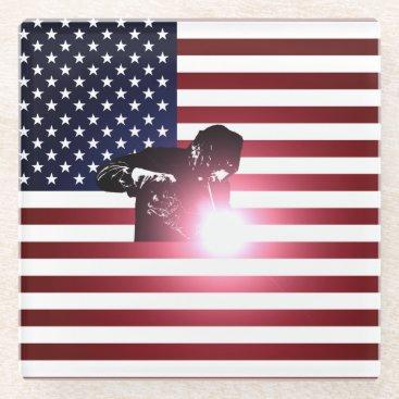 Welder & American Flag Glass Coaster