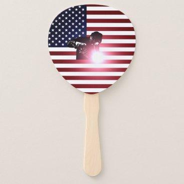 Welder & American Flag Hand Fan
