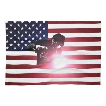 Welder & American Flag Hand Towel