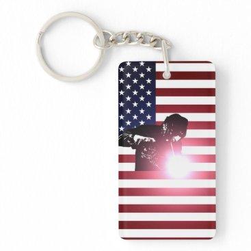 Welder & American Flag Keychain