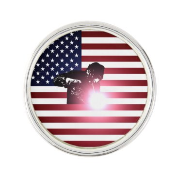 Welder & American Flag Lapel Pin