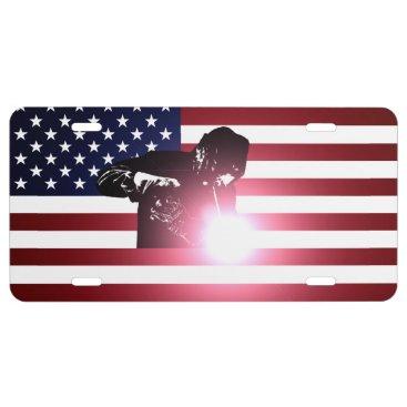 Welder & American Flag License Plate