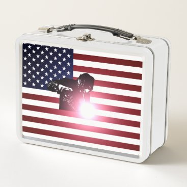 Welder & American Flag Metal Lunch Box