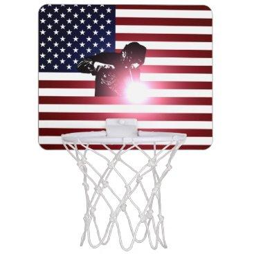 Welder & American Flag Mini Basketball Backboard