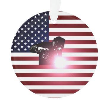 Welder & American Flag Ornament