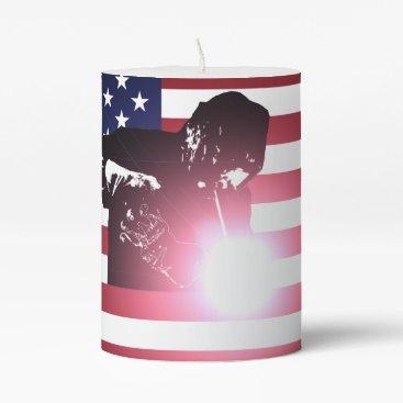 Welder & American Flag Pillar Candle