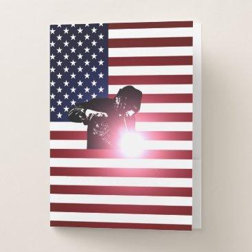 Welder & American Flag Pocket Folder