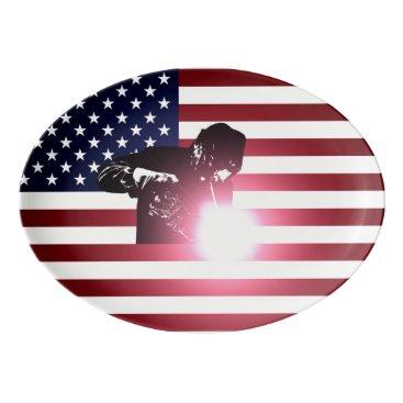 Welder & American Flag Porcelain Serving Platter