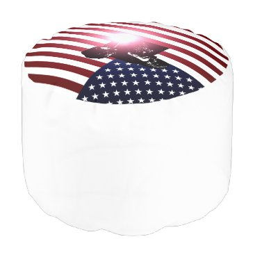 Welder & American Flag Pouf