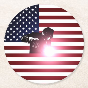 Welder & American Flag Round Paper Coaster