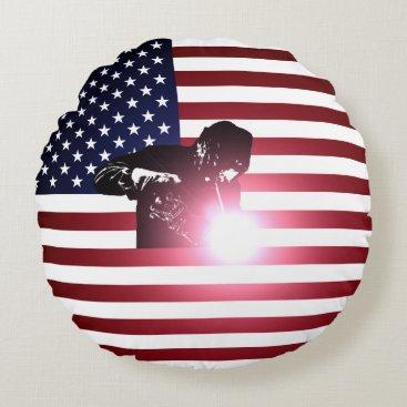 Welder & American Flag Round Pillow