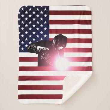 Welder & American Flag Sherpa Blanket