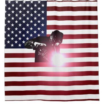 Welder & American Flag Shower Curtain