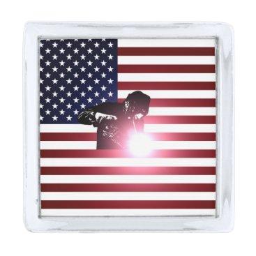 Welder & American Flag Silver Finish Lapel Pin