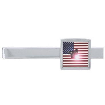 Welder & American Flag Silver Finish Tie Bar