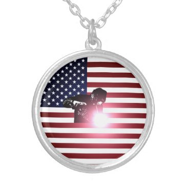 Welder & American Flag Silver Plated Necklace