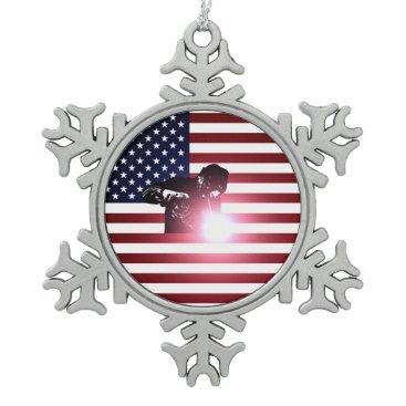 Welder & American Flag Snowflake Pewter Christmas Ornament