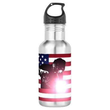 Welder & American Flag Stainless Steel Water Bottle