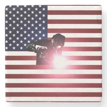 Welder & American Flag Stone Coaster