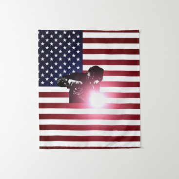 Welder & American Flag Tapestry