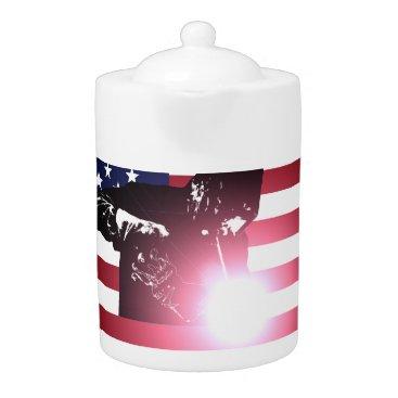 Welder & American Flag Teapot