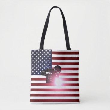 Welder & American Flag Tote Bag