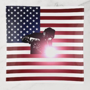 Welder & American Flag Trinket Trays