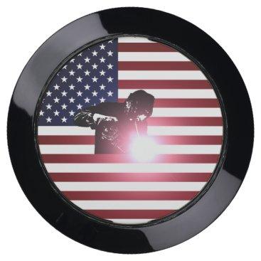 Welder & American Flag USB Charging Station