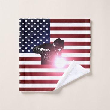 Welder & American Flag Wash Cloth